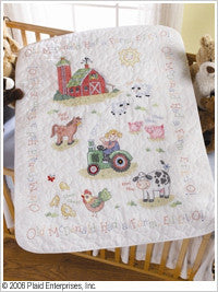 45567 BUCILLA BABY STAMPED CROSS STITCH-CRIB COVERS-ON THE FARM