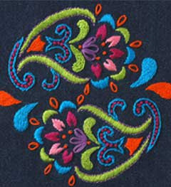 46229 BUCILLA STAMPED EMBROIDERY HAND MADE CHARLOTTE-DENIM BOHEMIAN PAISLEY-PKG OF 3