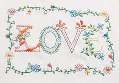 46276 BUCILLA STAMPED EMBROIDERY-LOVE-PKG OF 3