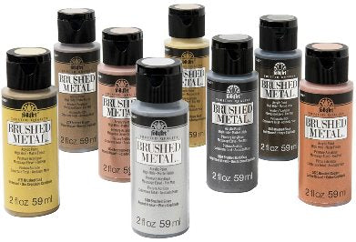 PROMOBM8 FOLKART BRUSHED METAL 8 PIECE PAINT SET-2 OZ. BOTTLES