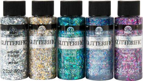 PROMOFAGL01 FOLKART GLITTERIFIC GLAM BASICS PAINT SET OF 5-OZ. BOTTLES