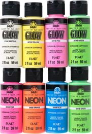 PROMOFAGLOW8 FOLKART NEON AND GLOW IN THE DARK 8 PIECE PAINT SET-2 OZ. BOTTLES