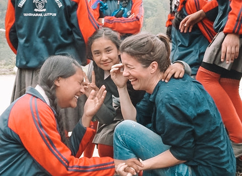 Michele with students in Nepal
