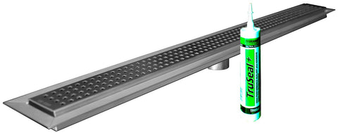 TRU-LINE Linear Drain by Trugard, Classic Grate Style, Drain body and Grate Assembly Included, (Similar to KERDI-LINE)