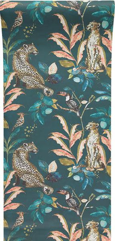 Cheetah Wallpaper in Teal by Laura Hyden