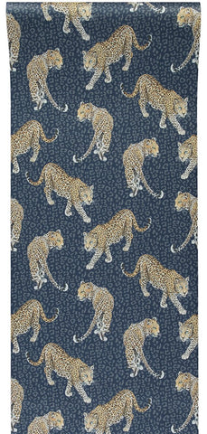 Leopard Wallpaper in Blue by Abi Bartlett