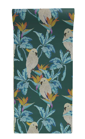 Cockatoo Wallpaper in Teal by Alicia De Costa