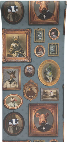 Portrait Gallery Wallpaper in Blue by Charlotte Cory