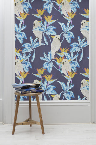 Cockatoo Wallpaper in Blue by Alicia De Costa