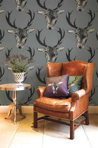 Stag Wallpaper in Grey by Lisa Bliss
