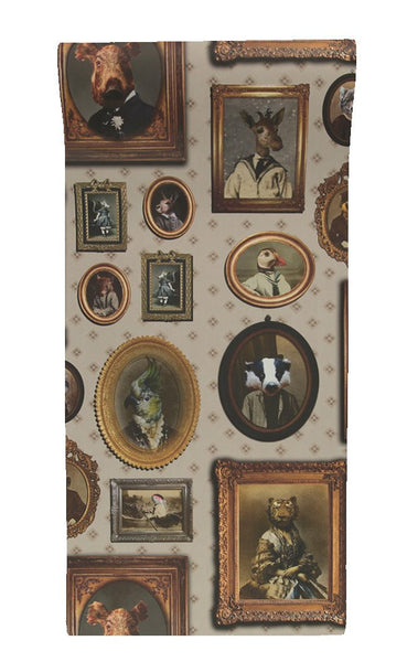 Portrait gallery wallpaper in taupe by charlotte cory - Wallpaper store charlotte nc ...