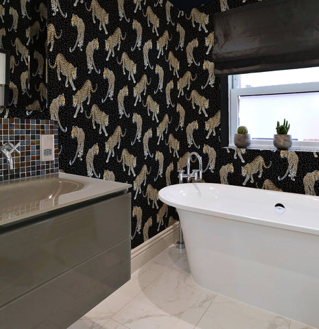 Leopard Wallpaper in Charcoal by Abi Bartlett