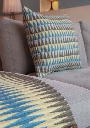 Prism Cushion in Turquoise by Chalk Wovens