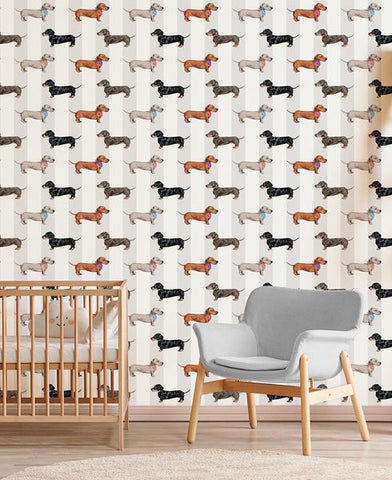 Dachshund Wallpaper Natural Stripe by Abi Bartlett