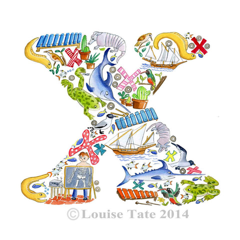 Louise Tate Alphabet Art Letter X