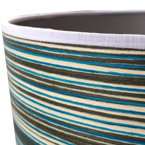 Blue Stripey Wood Veneer Drum Lampshade by Storm Furniture