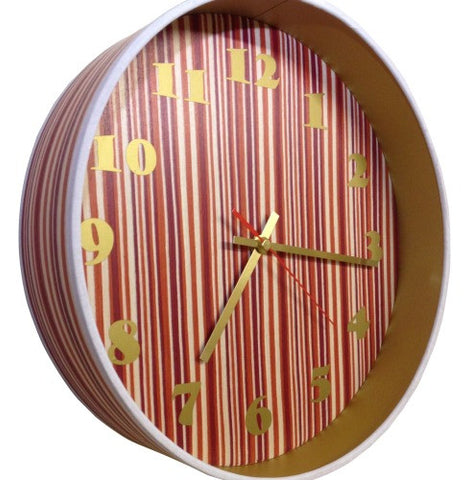 Red Stripe Veneer Drum Clock by Storm Furniture