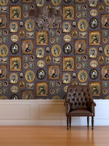 Portrait Gallery Wallpaper in Mauve by Charlotte Cory