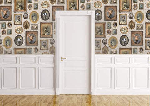 Portrait Gallery Wallpaper in Taupe by Charlotte Cory