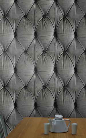 Chesterfield Button Back Wallpaper in Grey by Mineheart