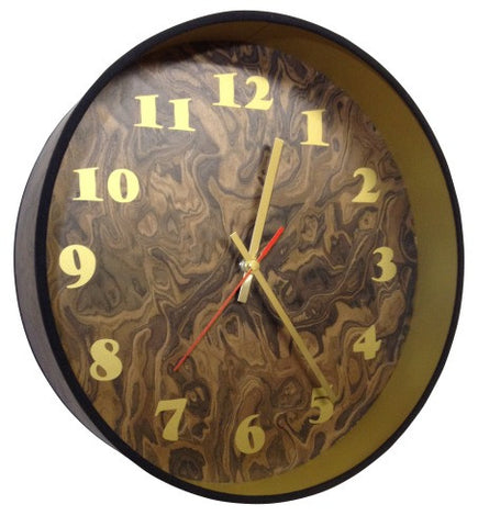 Dark Burl Veneer Drum Clock by Storm Furniture