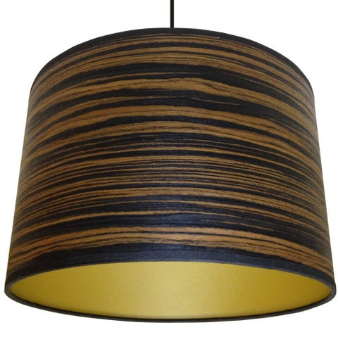 Dark Stripey Wood Veneer Drum Lampshade by Storm Furniture