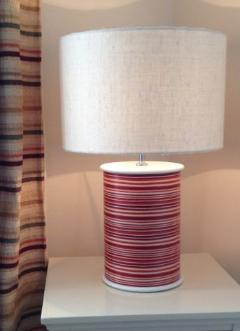 Red Stripe Drum Lamp by Storm Furniture
