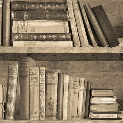Sepia Bookshelf Wallpaper by Mineheart