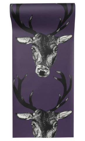 Stag Wallpaper in Plum by Lisa Bliss