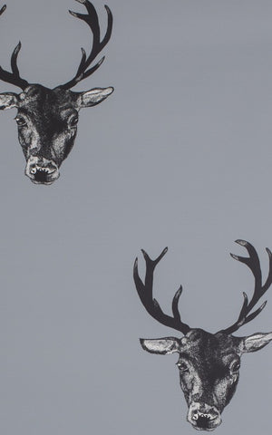 Stag Print Wallpaper in Grey by Lisa Bliss