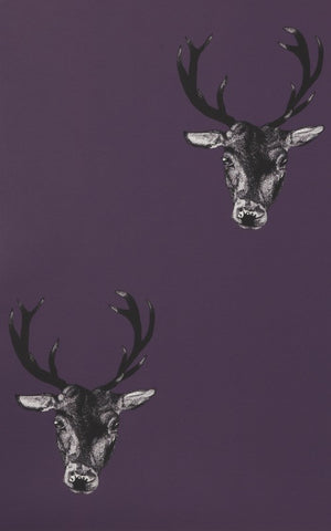 Stag Print Wallpaper in Plum by Lisa Bliss