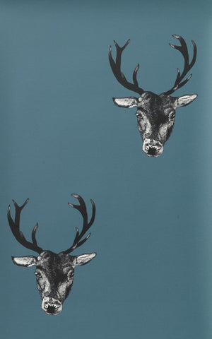 Stag Print Wallpaper in Teal by Lisa Bliss