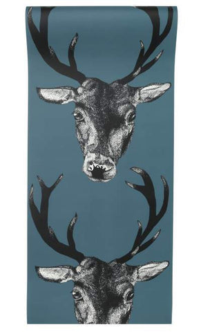 Stag Wallpaper in Teal by Lisa Bliss