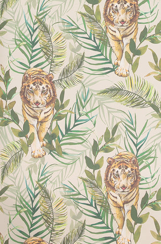 Tiger Tiger Wallpaper in Cream by Laura Hyden