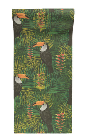 Toucan Wallpaper in Green by Alicia De Costa
