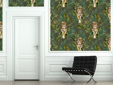 Tiger Tiger Wallpaper in Green by Laura Hyden