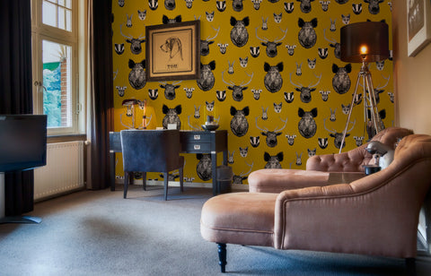 Vestige Wallpaper in Mustard by Lisa Bliss
