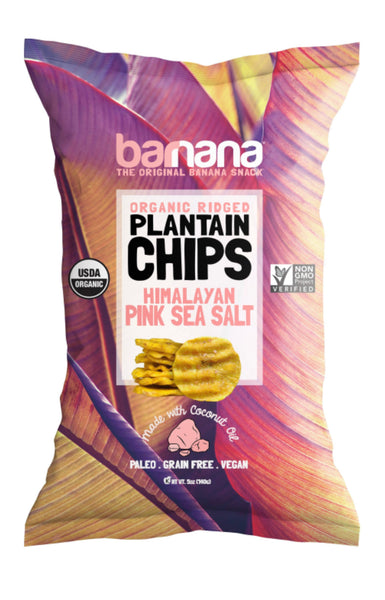 Organic Banana Organic Ridged Plantain Chips Himalayan Pink Sea Salt