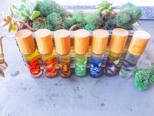 Chakra Crystal and Essential Oil Set with Necklace