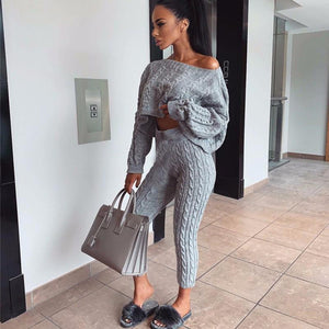 Crop Pullover and Long Pants Two-piece Set