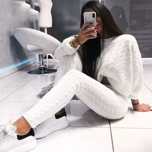 white crop top long sleeve with pants set knitted sweater set miami blvd boutique