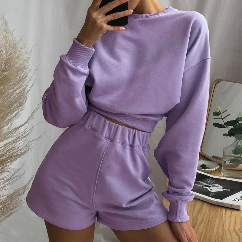 crop top shorts set sweater lavender purple miami blvd boutique