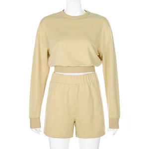 cream crop sweater set shorts miami blvd boutique apricot