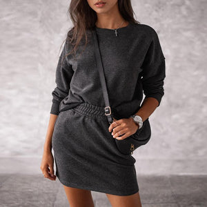 sporty feminine casual co-ordinate skirt set with sweatshirt top