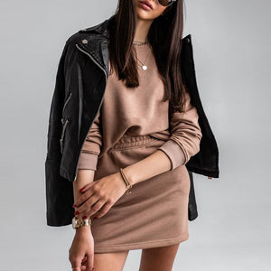 brown/nude sweater skirt set with long sleeves two piece