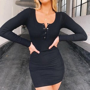 Long Sleeve Buttoned Ribbed Mini Bodycon Dress