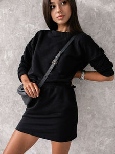 cute matching skirt set black