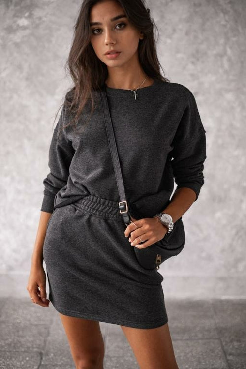 dark grey matching skirt set