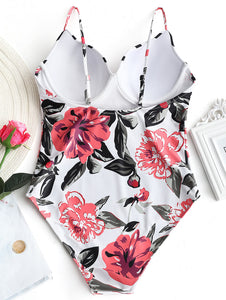 Floral Push up One-piece Swimsuit