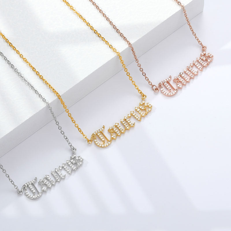Zircon Necklace 12 Constellation Zodiac Crystal English Letter Jewelry Gold Chain Alphabet Choker Necklace For Women BFF
